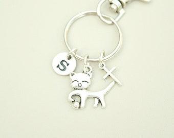 Pet Memorial Keychain, Cat Memorial gift, cat cross Keyring, In Memory of cat, Memorial Keychain Gift, Pet Loss gift, loss cat gift,cat died