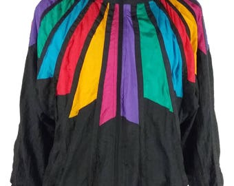 Vintage 1980s Unisex Active Stuff 2XL Windbreaker Jacket 80s XXL Dope Fresh Vtg