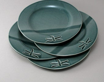 Pottery Plate, Set of 4, Salad Plates, Ceramic Dessert Plate, Dragonfly Pottery, Teal Pottery