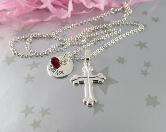 First Holy Communion Necklace with Hand Stamped Personalized Name Charm in Sterling Silver with Swarovski Crystal Birth Stone.