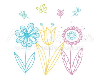 Doodle Flower Clipart Illustration for Small Commercial Use - 0051