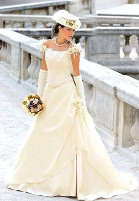 satin Artisanal design roses in decorated white engagement white strapless dress wedding Dress wedding with Elegant ZRSfO