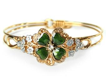 St. Patricks Day Bracelet, 4 Leaf Clover, Sharmrock, Good Luck, Lucky Bangle Bracelet, Green, Irish, St. Paddys Day Jewelry BR350