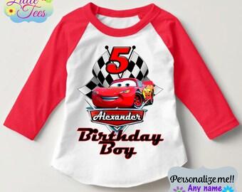 Lightning McQueen Birthday shirt/Lightning McQueen Cars Disney  t-shirt/Birthday boy or girl /Personalized Cars Birthday shirt/157