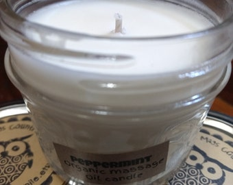 Peppermint Organic Massage Oil candle