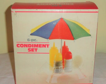 Boxed 6 Piece Ketchup Mustard Salt Pepper Acrylic Table Umbrella CONDIMENT SET