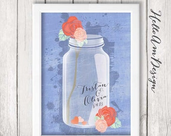Wedding Guest Book - mason jar - Lavendar wedding - Guest Book Print -Wedding Art Print - Guest Book alternative - Wedding Guest Book