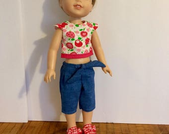 """Wellie Wisher sized outfit. Cherry top with jean capris. 14"""" doll outfit. Handmade."""