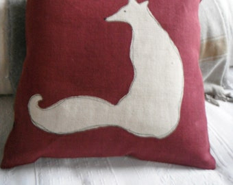 hand printed mulberry sitting fox cushion cover