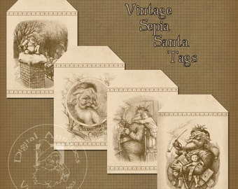 Vintage Christmas SantaTags Sepia Thomas Nast Illustrations Instant Digital Download