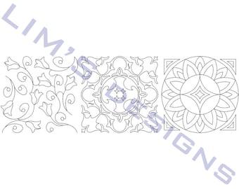 "Three Quilt Patterns N39 machine embroidery designs - 3 sizes 4x4"", 5x5"", 6x6"""