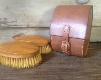 Westminster English Grooming Brush Set in Leather Travel Case, Wood, Natural Bristles