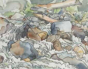 Cascade Waterfall - original watercolor painting