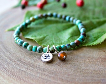 Turquoises OM Charm Bracelet/Yogi OM Bracelet
