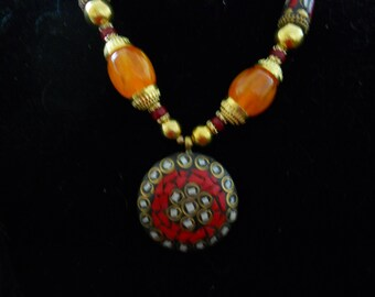Hand Painted Enamel Glass Stone Necklace #440