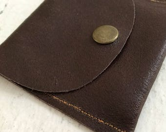 Repurposed Brown Leather Earbud Pouch Coin Purse with Snap Closure.