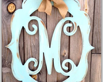 Monogram Door Decor, Wooden Monogram, Distressed, Burlap Monogram, Wedding Monogram, Initial, Hand Painted Monogram, Distressed Monogram