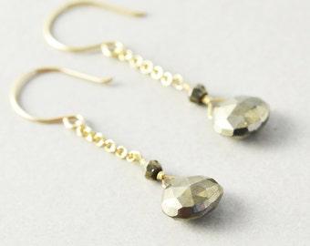 Pyrite Dangle Earrings, Gold Chain Earrings, Brown Drop Earrings