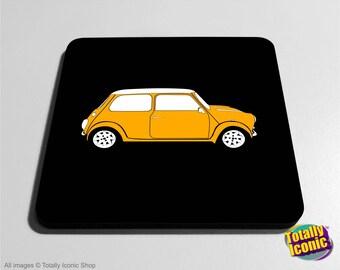 Classic YELLOW Mini Drinks Coaster Mat - Classic Mini - Mini Cooper - Austin Mini Car