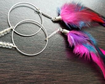 Party Rocker- Pink, Purple, and Blue Feather Earrings with Silver ring, beads and Dangle-Party Bright Colorful and Vibrant