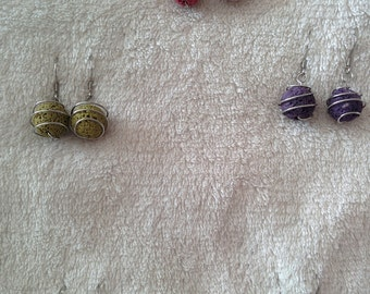 Wire Wrapped Essential Oil Diffuser Earrings Lava Beads Assorted Colors