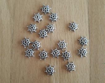 5 Silver bead caps 8mm