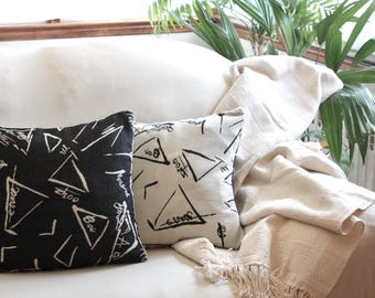 Set of 2 Black and off white Pillow Cover, 2 in one, Black and Cream Pillow Cover, Black modern two color.