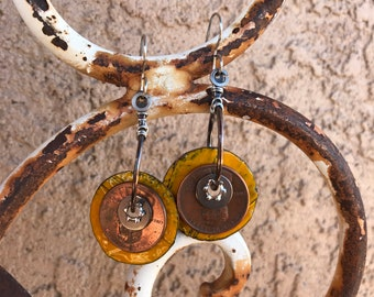 Enameled Copper and Penny Earrings