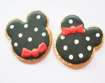 Mickey and Minnie Mouse Sugar Cookies, 1 Dozen, Mickey Mouse Clubhouse, Birthday Cookies, First Birthday, Kid, Party, Favors