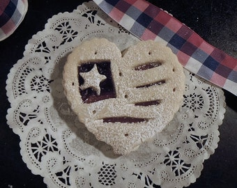 USA Sugar Cookie with Strawberry & Blueberry jam 1 dozen-Heart shaped Flag Cookies