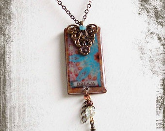 SCN1 Upcycled DREAM Necklace, Repurposed Necklace, Collage Necklace, Shabby Chic