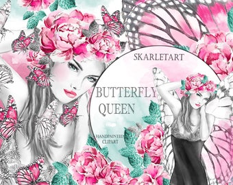 Butterfly Clipart Fashion Girl Fashion Illustration watercolor Flowers Pink  Spring Planner Clipart Pink Peony Planner Supplies