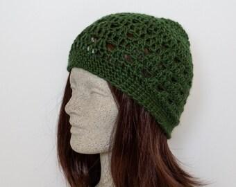 Green Crochet Beanie Medium Weight Beanie Hunter Green Crocheted Hat Deep Green Womens Beanie Dark Green Hat Teen Girl Beanie Hat