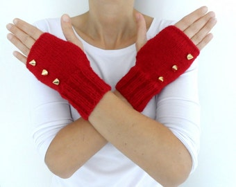Fingerless Gloves with Studs, Red Studded Mittens