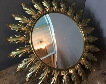 Sunburst Mirror 1960's spanish gilt convex