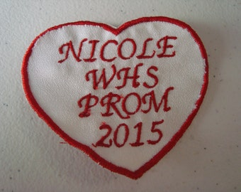 small heart shapped prom / homecoming  gown label