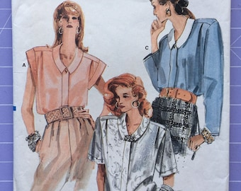 Vintage 1980s Vogue Pattern 9916 Women's/Misses' shirt, Size 8-10-12