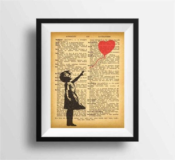 Vintage dictionary art print wall art banksy prints