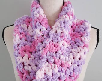 Crochet Cowl Scarf Circle Knit Infinity Scarf Women's Winter Chunky Bulky Soft Warm Unique Gift Pink Purple