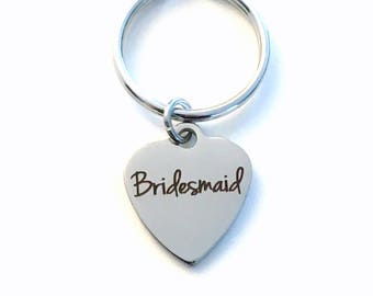 Bridesmaid Keychain, Brides maid Key Chain, Gift for Wedding Party, Bridesmaid Keyring, Bridal Attendant, Purse Charm, Luggage Tag Planner