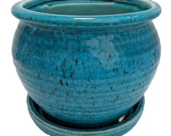 "Speckle Planter with Attached Saucer - Turquoise - 6"" x 5 1/2"""