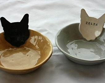 Personalized Kitty Cat Bowl Dish - 6 1/2 inches - Custom Made to Order