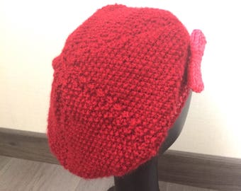 Girl in red wool beret. Size 2 to 3 years girl handmade knit hat