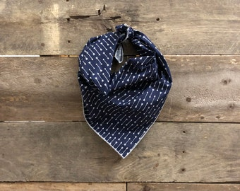 Navy Blue White Arrow Tie On Dog Bandana