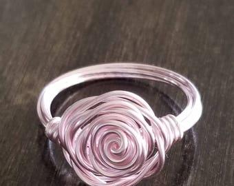 Pink Rose Ring, Rose Ring, Flower Ring