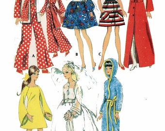 1960s Vintage Barbie Doll Clothing PATTERN 2123 Francie Casey Julia Christie Jumpsuit Scarf Vest Dress Coat Hat Boots PDF File