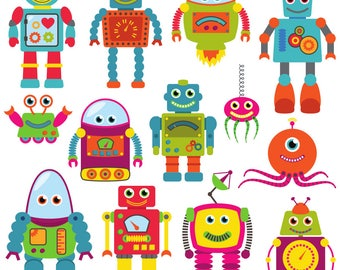 "Fabric by the yard ""Robots"" Home Decor Fabric"