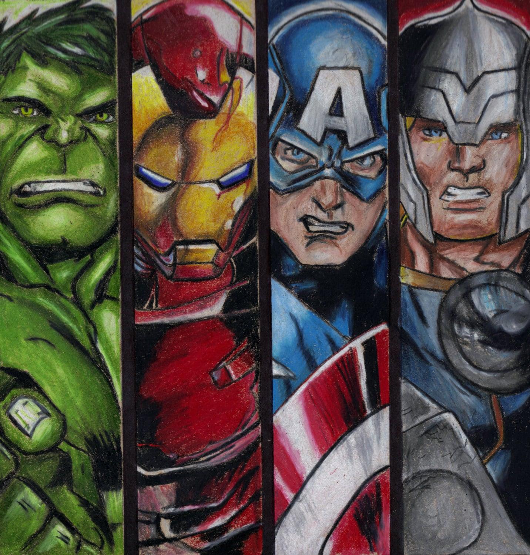Avengers 8x10 Art Print Comic Book Drawing Hulk Iron Man