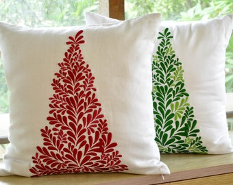 Holiday Pillows, Christmas Tree, Throw Pillow Cover, Christmas Pillows. Embroidery, Floral Pillows, Red Cushion, Christmas Decoration