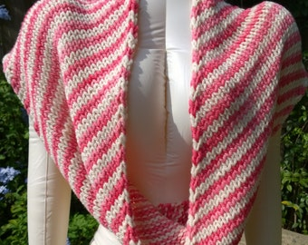 Hand Knit Chunky Candy Striped Wool Cowl, Diagonal Stripe, Long Cowl, Pinks and Whites, Malabrigo Yarn, Super Soft Wool